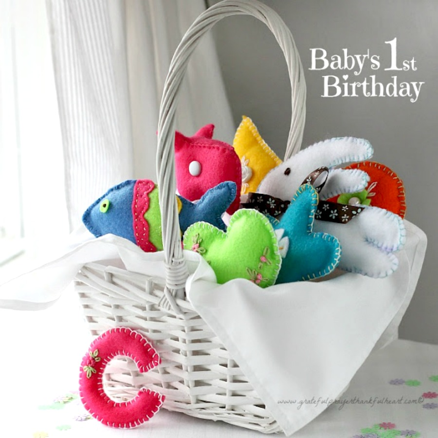 Sweet Basket Of Felt Toys For Babys Birthday Are Perfect Little Hands Soft And