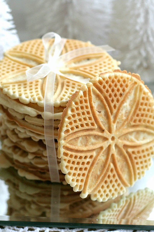 Pizzelles are a crisp Italian cookie flavored with anise seed. An easy recipe from a neighbor and the best Pizzelles we have ever eaten. A Classic!