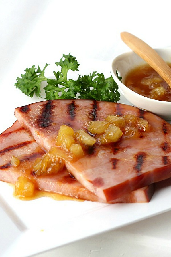 Serve pineapple ham glaze with your Easter or Christmas ham or with a grilled ham slice. An easy sauce recipe that takes just a few ingredients to make and adds so much flavor.