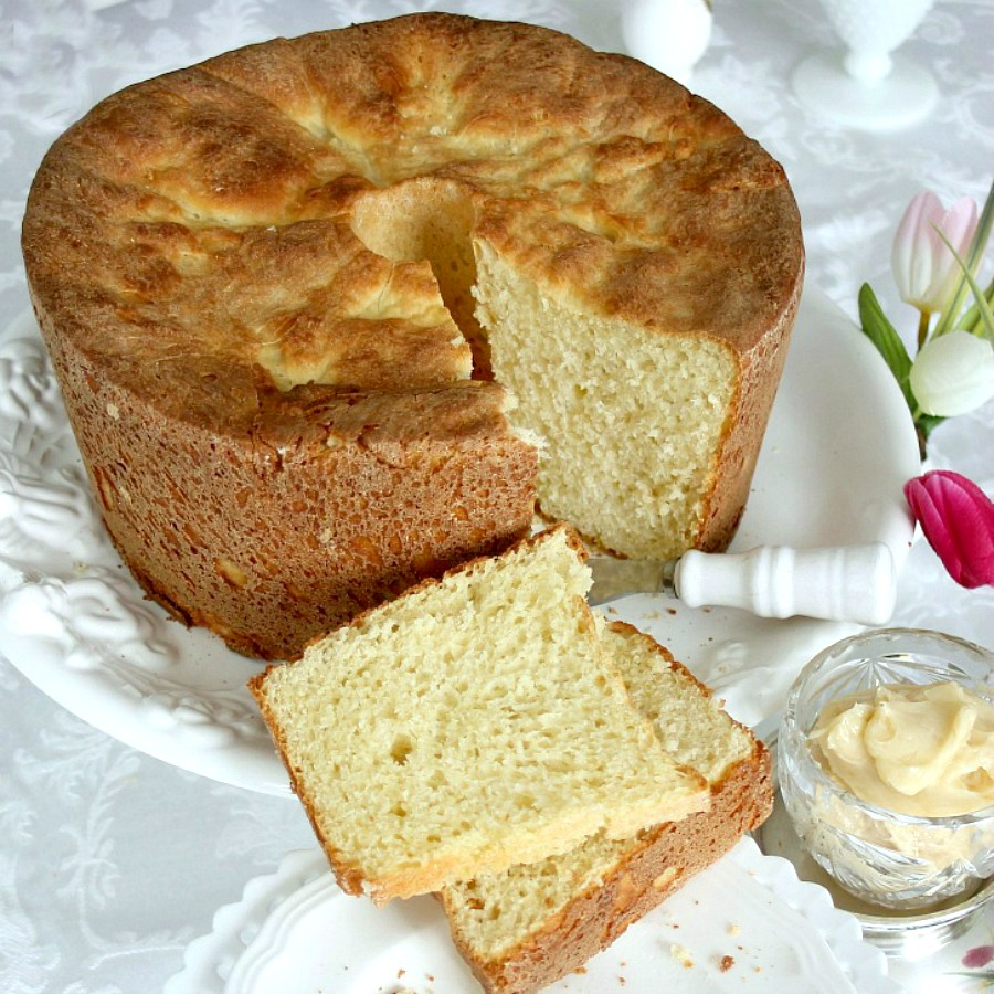 Sally Lunn Batter Bread is a lovely yeast bread, golden in color and baked in a round. Delicious toasted with butter & jam or marmalade. Great with meat and gravy too.
