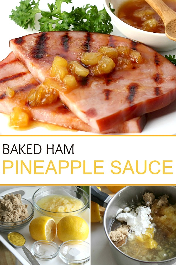 Pineapple ham glaze is the perfect sauce to compliment baked ham. An easy recipe that takes just a few minutes and a few ingredients to make but adds so much flavor. Serve it on the side with your Easter or Christmas baked ham or with a grilled ham slice.