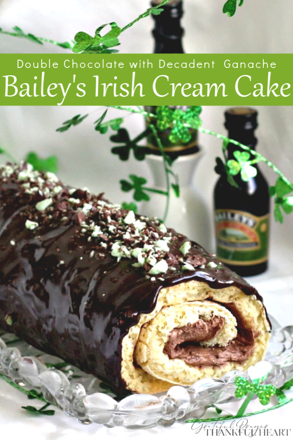 You'll think you've reached the rainbow's end with this over-the-top, Double Chocolate Irish Cream Cake Roll. It is filled with a creamy chocolate center and then covered with a decadent chocolate ganache. Bits of minty chocolate garnish the top for an impressive dessert that will please any Irishman or Irish Lassie.
