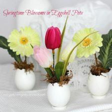 Springtime ~ Easter Flowers in Eggshell Pots