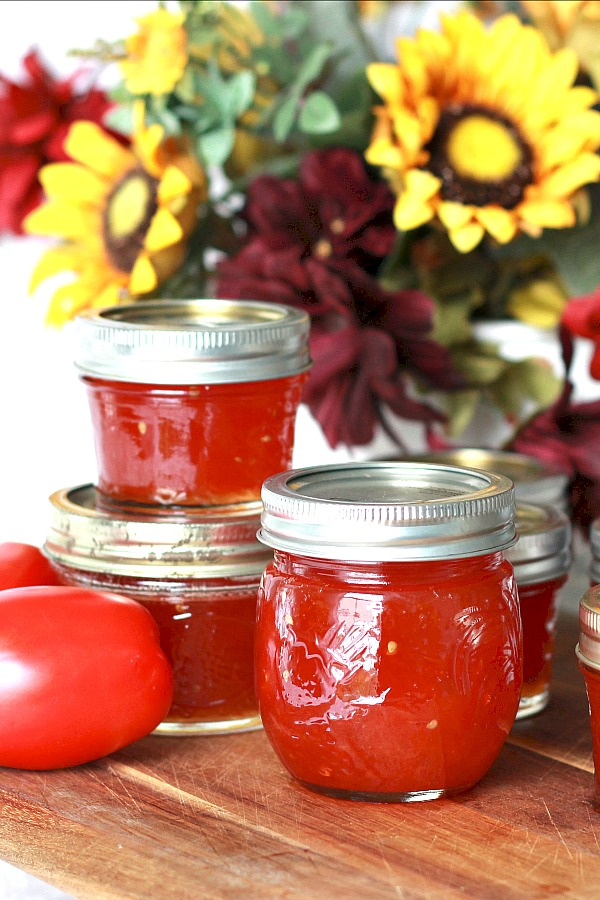 Vintage recipe for Grandmom's Tomato Jam is made using just tomatoes, sugar and lemon or lime juice. Delicious on toast or biscuits and on a cheese board. Perfect use for garden fresh tomatoes for canning and a lovely addition to a gift basket.