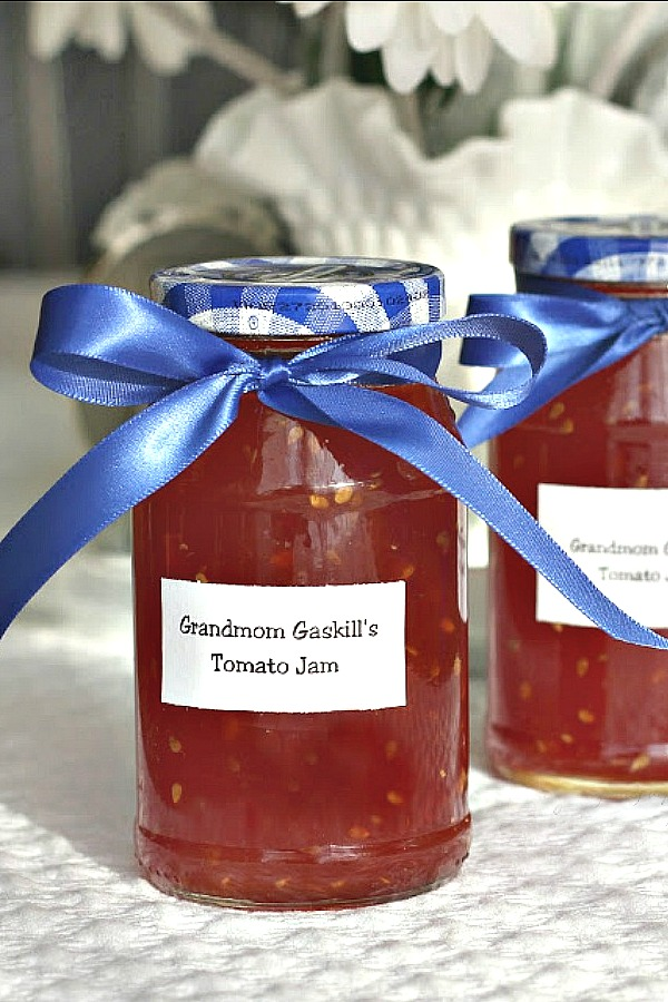 Very easy, old-fashioned tomato jam comes from a vintage canning recipe. It is delicious spread on toast or biscuits and makes a yummy appetizer. A lovely food gift using your garden's bounty.