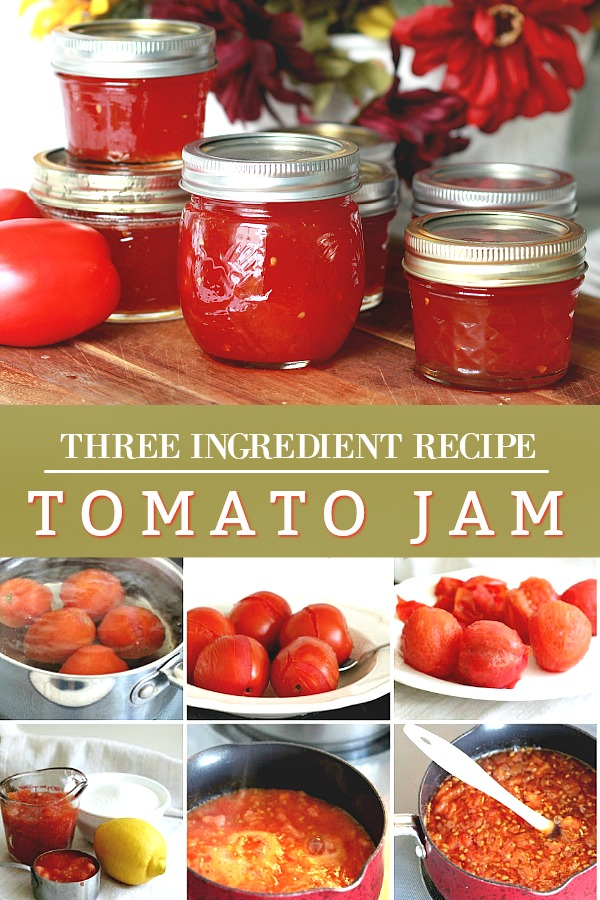Tomato jam is a delicious, old-fashioned treat prefect as an appetizer with cheese and crackers or simply served on toast. An easy, vintage recipe using just three ingredients and great way to use those beautiful tomatoes from the garden or market.