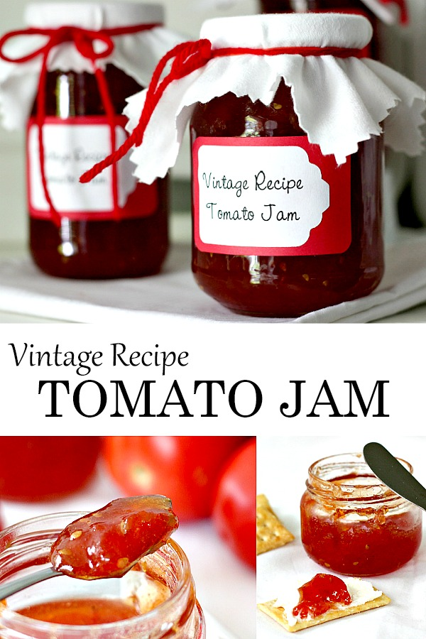 Just tomatoes, sugar and lemon or lime juice cooked together is all it takes to make old-fashioned Tomato Jam. From a vintage recipe, it is delicious served as an appetizer with cheese and crackers or just spread on toast.