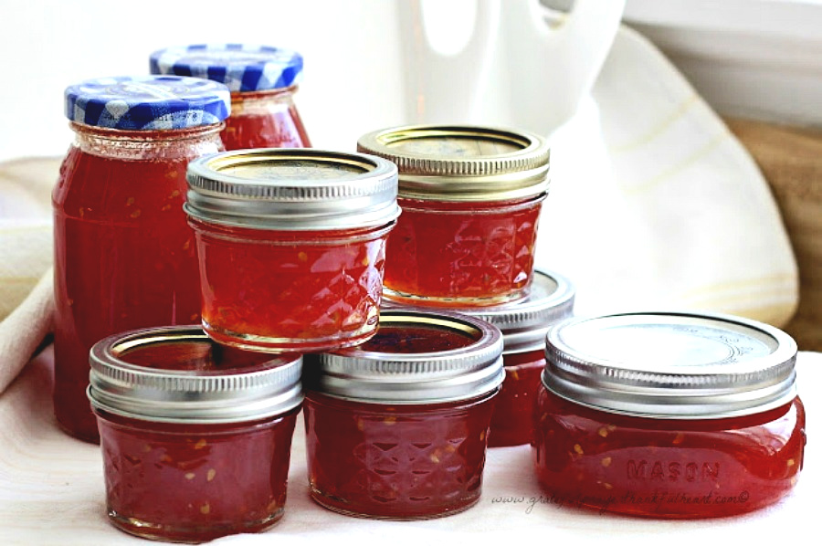 Vintage recipe for Grandmom's Tomato Jam is made using just tomatoes, sugar and lemon or lime juice. Delicious on toast or biscuits and on a cheese board. Perfect use for garden fresh tomatoes and a lovely addition to a gift basket.