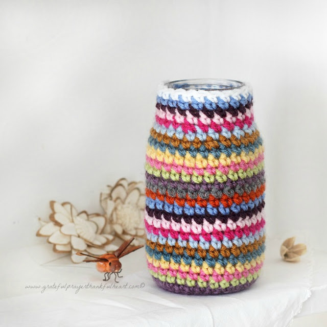 Cute, useful and easy to make crochet cozy for jars or cans can organize your vanity, desk and arts and crafts supplies. Easy to follow pattern.