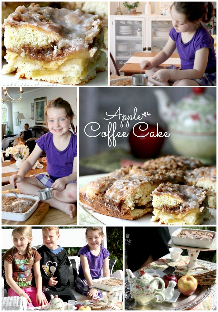 Easy and delicious apple coffee cake is a perfect treat for breakfast or snacking. Enjoyed on the porch with visiting grandchildren makes it even more special.