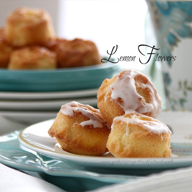 Recipe for a sweet treat perfect for serving at  luncheon, brunch or tea party. Lemon Flower teacakes are pretty and tasty.