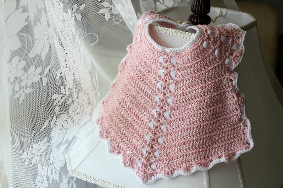 Crochet Baby Bib From Vintage Pattern Grateful Prayer Thankful Heart