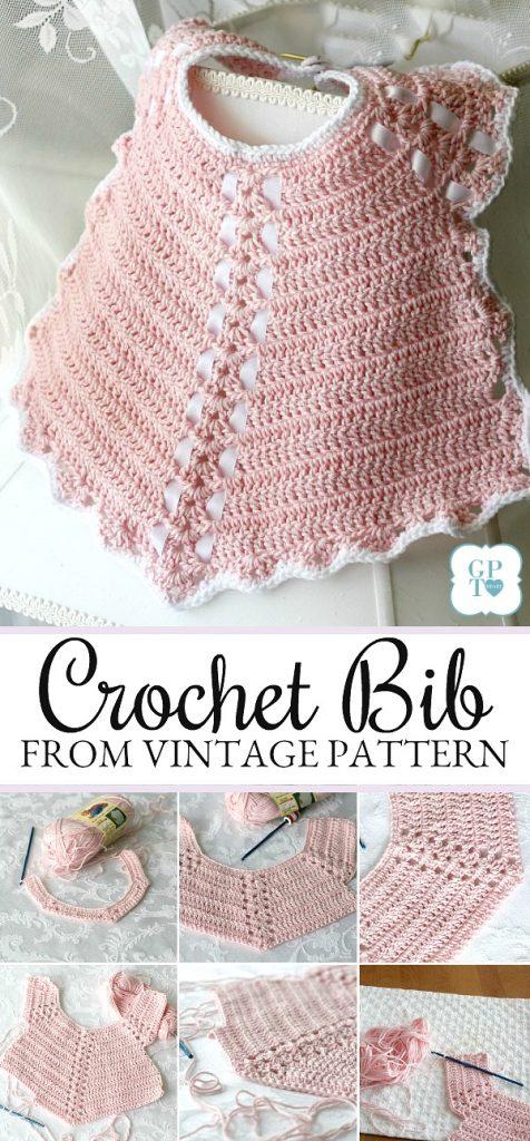 Crochet Baby Bib From Vintage Pattern Grateful Prayer Thankful Heart