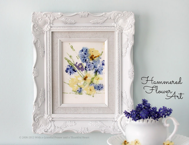 Preserving springtime flowers and creating lovely art is easy by pressing and hammering blossoms onto paper.