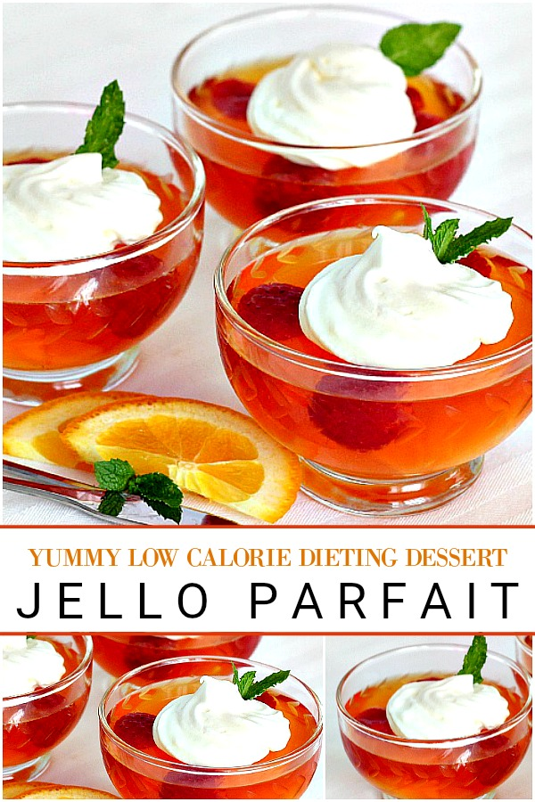 Dieting desserts that are light yet satisfying: orange or strawberry Jello parfait with fruit & light whipped cream for lots of flavor and very few calories.