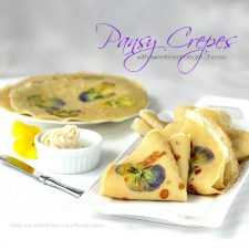 Pansy Crepes with Sweetened Cream Cheese