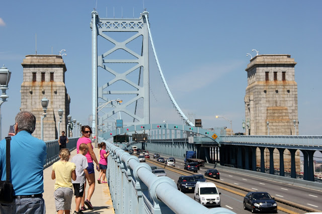 Walking the Philadelphia Camden Ben Franklin Bridge