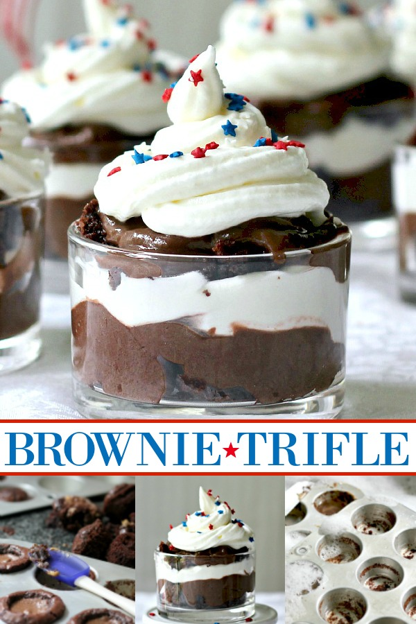 What to do when you have a recipe fail? Make amazing brownie triffle to saved the day! Easy parfait of brownies, chocolate pudding and whipped cream topped with patriotic sprinkles for the 4th of July or Memorial Day.