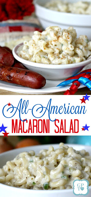 Easy recipe for a classic All-American Macaroni Salad. Perfect side dish for cookouts and barbecues. Serve with hotdogs, burgers, chicken and pork as you celebrate the 4th of July with food and fireworks!