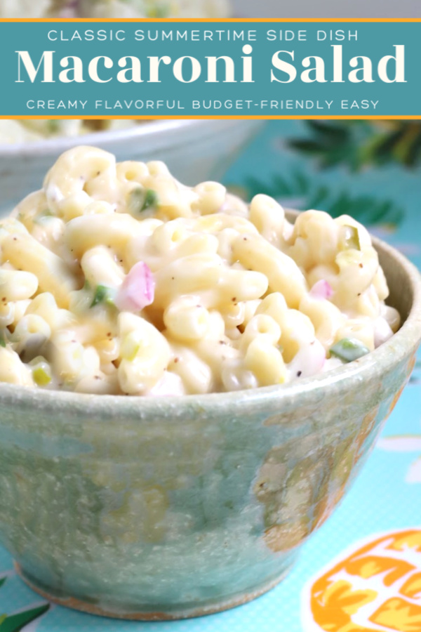 Easy recipe for classic macaroni salad. Perfect side dish for cookouts and barbecues. Serve with hotdogs, burgers, chicken and pork as you celebrate the 4th of July with food and fireworks!