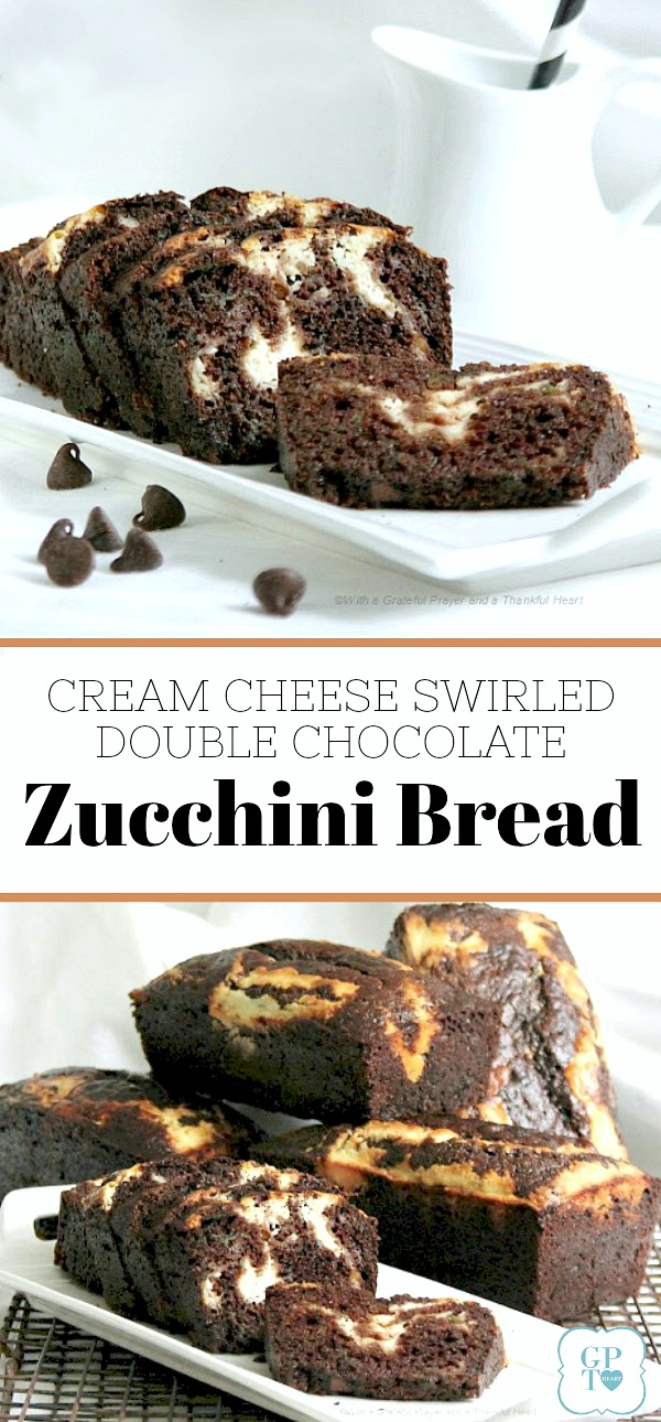 Cream Cheese Swirled Double Chocolate Zucchini Bread is a rich and chocolatey bread that has three cups of zucchini! It is moist and delicious with cream cheese swirled throughout. Enjoy it for breakfast, snack or dessert.