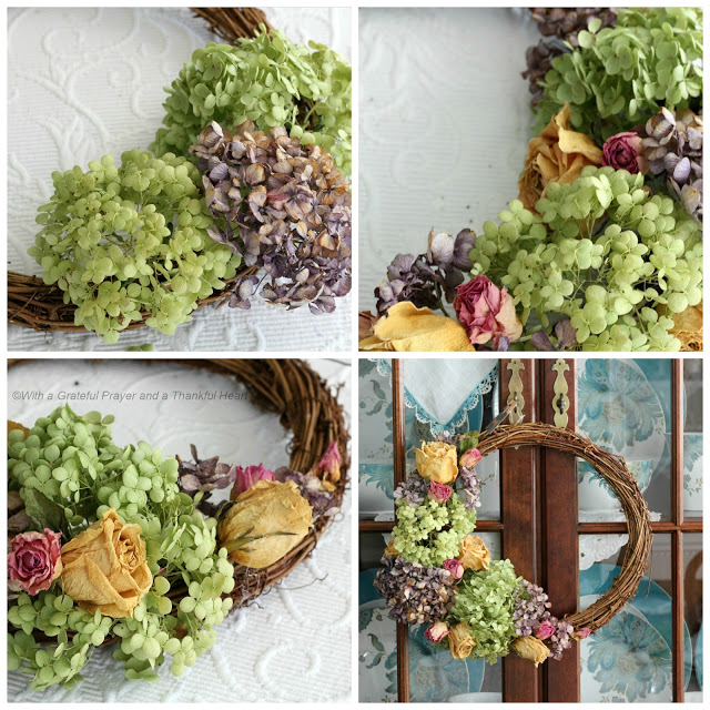 Preserve hydrangea, roses and garden flowers by drying then used to create a lovely wreath.