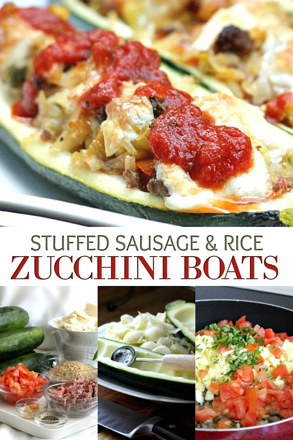 Easy recipe for a great summer meal. Garden fresh zucchini boats are stuffed with sausage, rice, tomatoes, Parmesan and mozzarella cheese for a tasty summer entree.