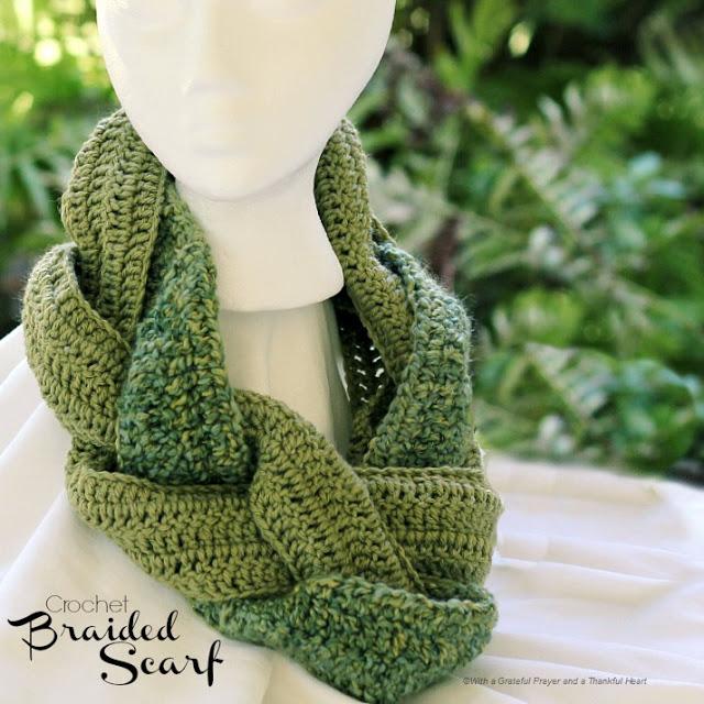 Crochet Braided Scarf Grateful Prayer Thankful Heart
