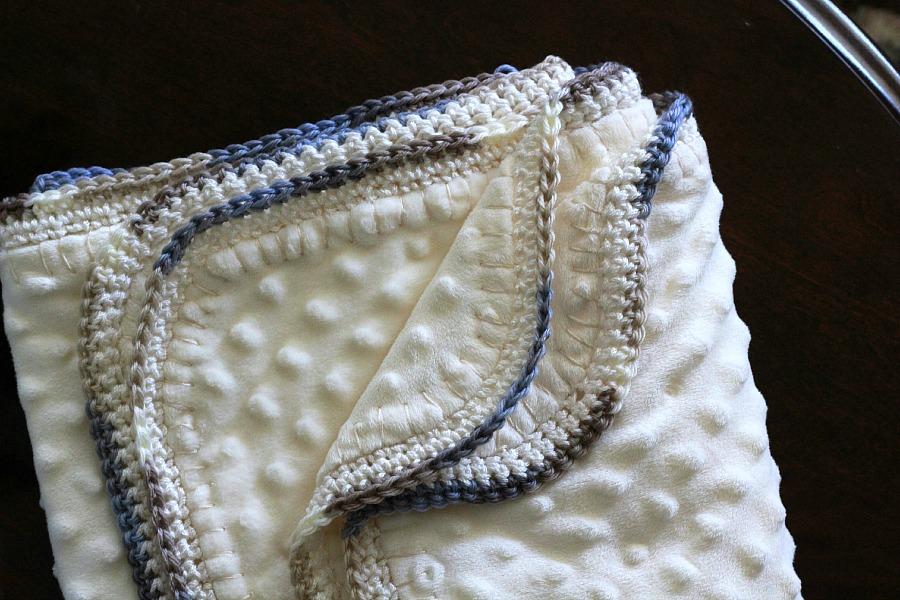 Crochet Edge Baby Blanket Grateful Prayer Thankful Heart