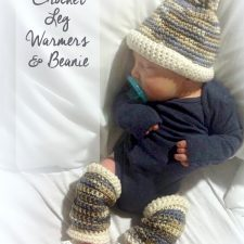 Infant Crochet Leg Warmers & Baby Beanie
