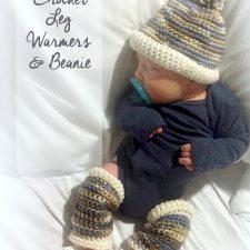 Infant Crochet Leg Warmers & Baby Beanie
