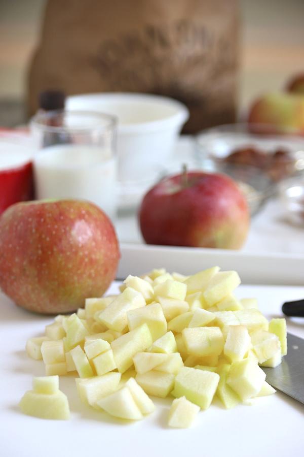 chopping Empire apples to make apple coffee cake recipe