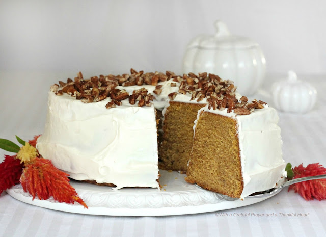 A visually attractive cake, pumpkin pound cake with a cream cheese frosting is easy to make and a perfect finish for your Thanksgiving dinner.