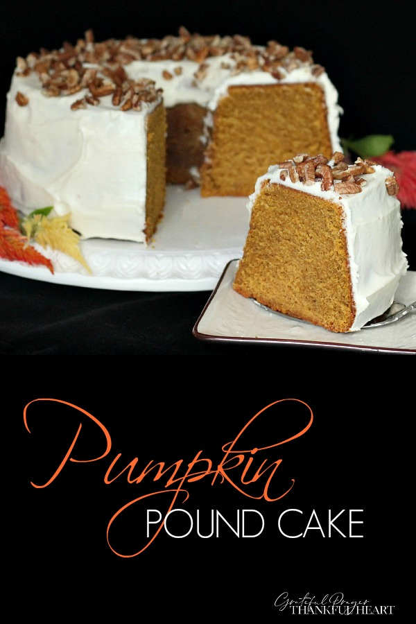A beautifully appetizing cake, pumpkin pound cake with a cream cheese frosting is an easy to make recipe and a perfect dessert for your Thanksgiving or holiday dinner.