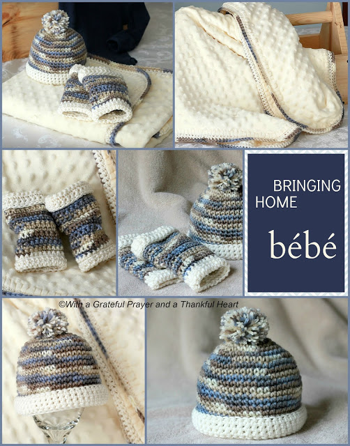 Crochet pattern infant baby boy leg warmers with matching beanie hat. Baby blanket with matching crochet edging.