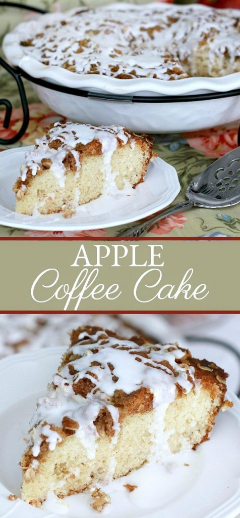 Easy recipe for apple coffee cake with an oat and pecan crumbly topping and a white glaze. Lovely autumn dessert.