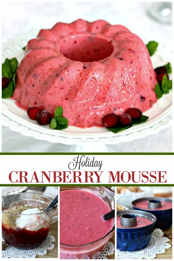 Bring the beautiful jewel-tone colors of cranberries to your Thanksgiving or Christmas table. Holiday Cranberry Mousse is light and fluffy and looks so pretty. It tastes yummy too!