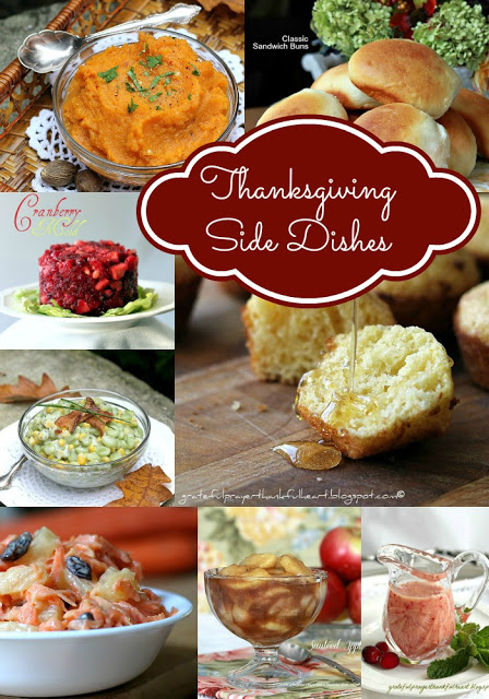 Thanksgiving dinner side dishes to round out your menu. Easy recipes for cranberries, sweet potatoes, dinner rolls, corn muffins, succotash & apples.