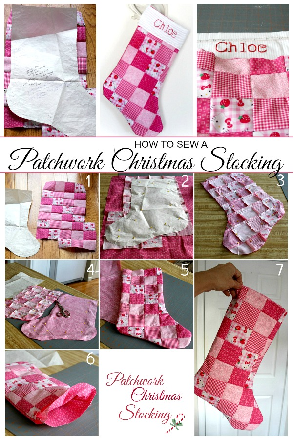 How to pattern for sewing a Patchwork Christmas Stocking easy enough for a beginner. Makes a sweet, personalized gift for kids and grandchildren.