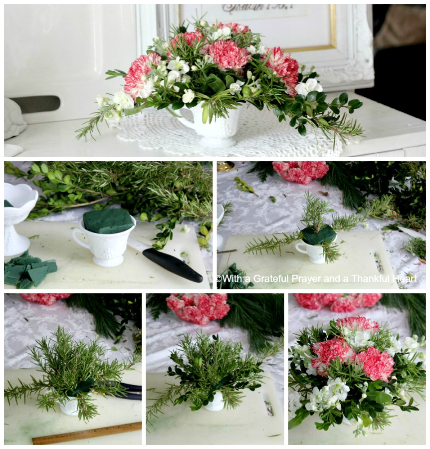 Make a cheerful and inexpensive Christmas floral centerpiece using greens from your yard and flowers from the grocery store with this easy DIY holiday how-to.