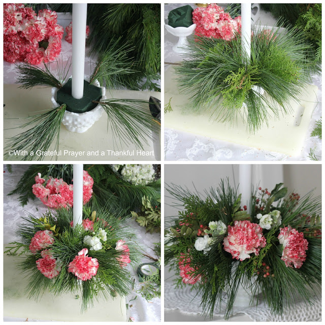 Brighten the room with an easy, inexpensive floral Christmas centerpiece using greens from your yard and flowers from the produce store or grocery store.