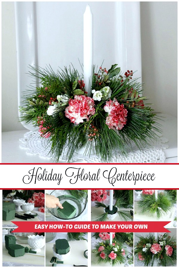 Flowers on the table just brightens the room! A pretty floral Christmas centerpiece arrangement is