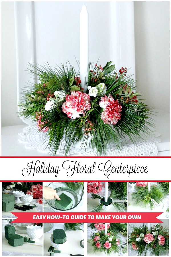 Flowers on the table just brightens the room! A pretty floral Christmas centerpiece arrangement is easy and inexpensive to put together using greens from your yard and some flowers you pick up from the produce store or even the grocery store.