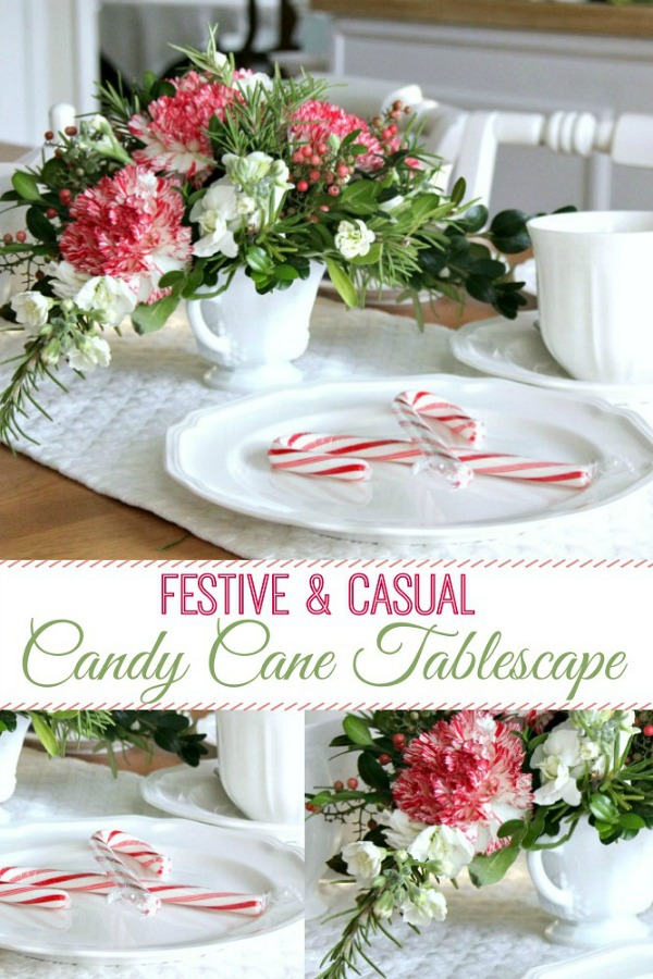 A sweet holiday candy cane tablescape that is casual, festive and easy. Inexpensive too, using greens from your yard and flowers from the grocery store. A lovely Christmas floral centerpiece with DIY how-to.