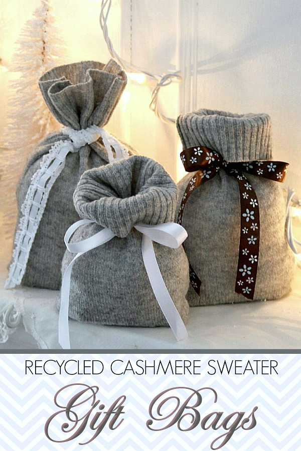 Use a recycled, cashmere sweater from the thrift shop or your closet to make useful and lovely Christmas gift bags. Easy instructions for holiday decorating and gift-giving.