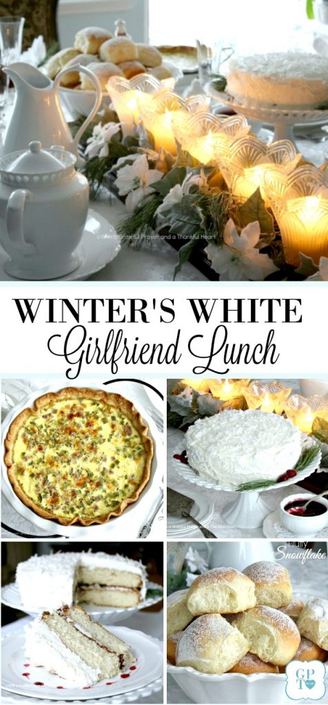 Brighten those winter blues with a lovely Winter's White lunch with friends. Tablescape and menu for snowflake rolls, quiche and a white cake with coconut frosting.