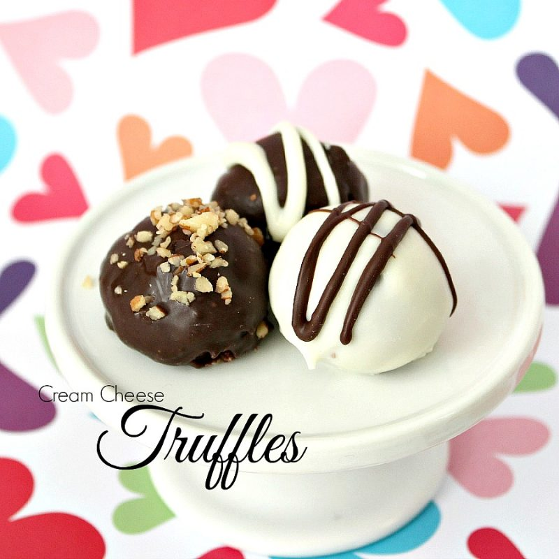 Decadent Cream Cheese Chocolate Truffles are perfect no-bake Valentine's Day treats. They looks so elegant as well. Sweetened cream cheese and chocolate mixture is rolled into balls and then dipped in more melted chocolate. Roll in powdered sugar, cocoa or nuts and enjoy!