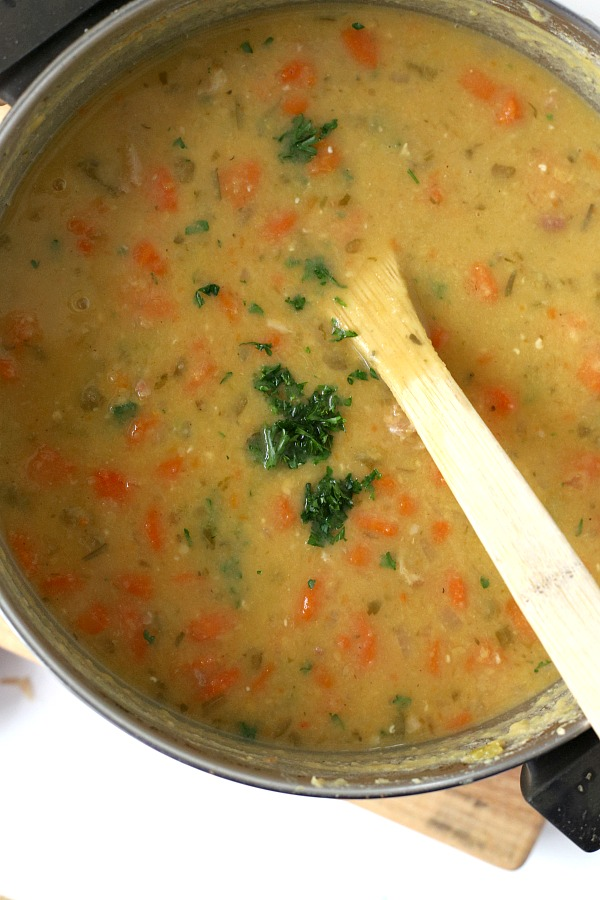 Don't toss that holiday ham bone! Make a delicious pot of homemade split pea soup. A easy, budget-friendly recipe that is comforting and satisfying.