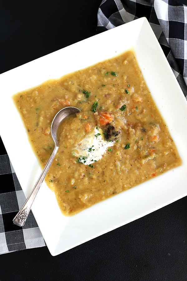 Warm up with a delicious bowl of split pea soup. An easy recipe made with yellow or green peas and a great way to use a holiday ham bone for leftover, budget-stretching goodness.