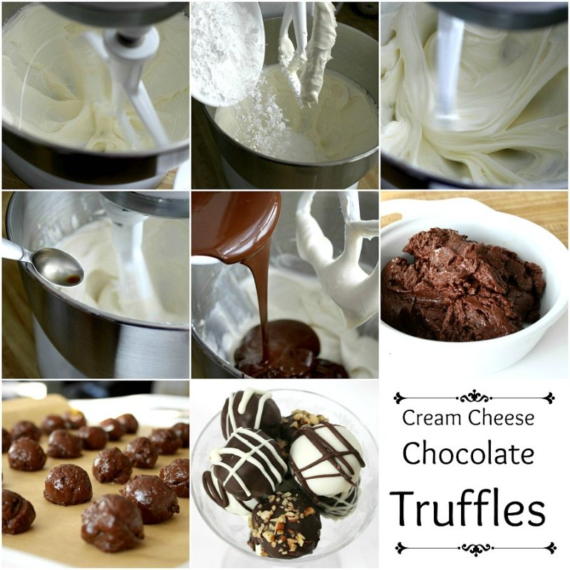 Decadent Cream Cheese Chocolate Truffles are perfect no-bake Valentine's Day treats. They looks so elegant as well. Sweetened cream cheese mixture is rolled into balls and then dipped in melted chocolate. Roll in powdered sugar, cocoa or nuts and enjoy!